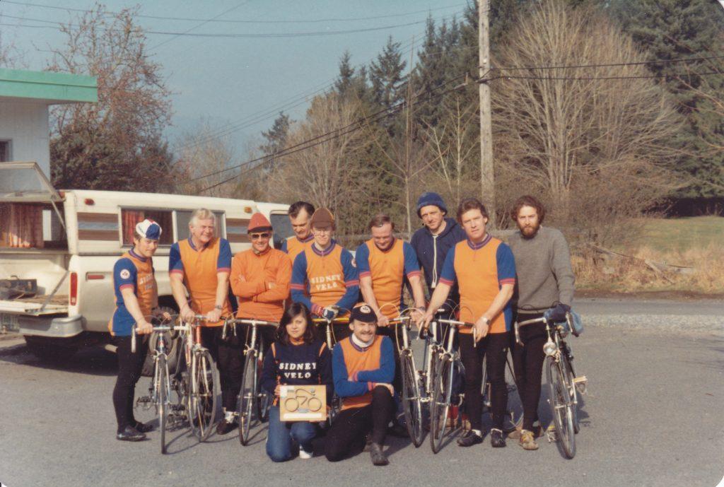 Sidney Velo - 1982 Cycling BC Club of the Year Back: Willi Fahning, Derek Mallard, brian Rowley, Errol Thornton, Mike hay, Dieter Schauner, Stoffelsma, unidentified, unidentified. Front: Maria Fahning, unidentified.