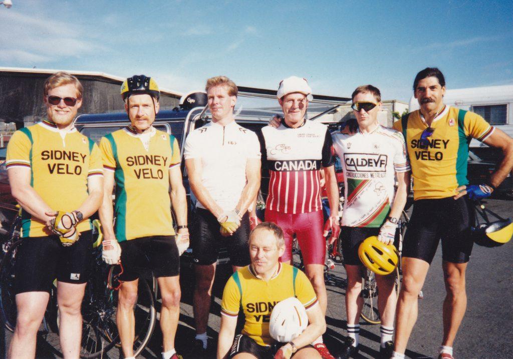 1990 Wenatchee Century Back: Mike Hay, unidentified, Steve Dinning, Doc Watson, Peter Snell, Neil Solomon Front: Willi Fahning