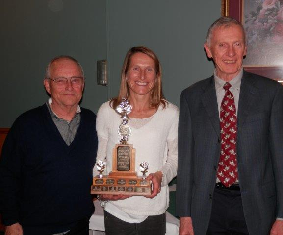 Lucy Smith, Master 50-54, Fastest Female & Master, presented by Willi Fahning & Ian Birch